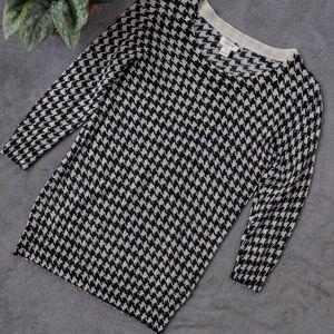 J. Crew Gingham Pattern Black Cream Sweater xs